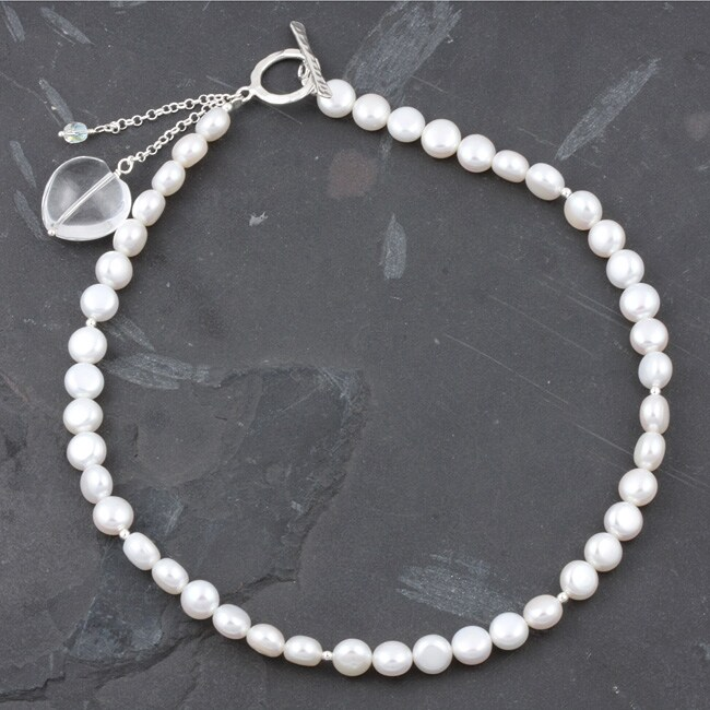 Freshwater Pearl Necklace with Crystal Heart Charm (Israel)