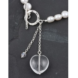 Freshwater Pearl Necklace with Crystal Heart Charm (Israel) - Thumbnail 1
