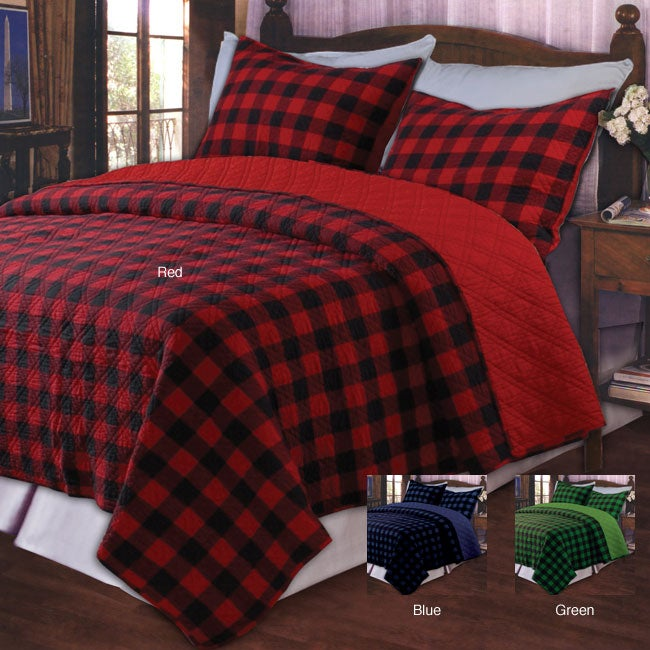 Greenland Home Fashions Western Plaid Red King-size 3-piece Quilt Set