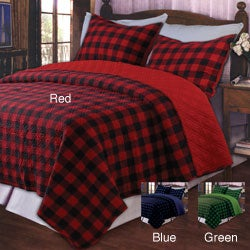 Greenland Home Fashions Western Plaid Red King-size 3-piece Quilt Set - Thumbnail 0