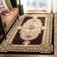 Safavieh Handmade Classic Black/ Beige Wool Rug - 4' x 6'