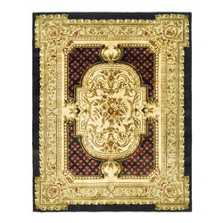 Safavieh Handmade Classic Black/ Beige Wool Rug (6' x 9')