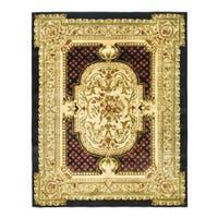Safavieh Handmade Classic Black/ Beige Wool Rug - 6' x 9'