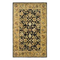 Safavieh Handmade Classic Black/ Gold Wool Rug (4' x 6')