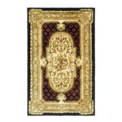 Safavieh Handmade Classic Black/ Beige Wool Rug (5' x 8')