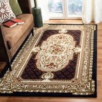 Safavieh Handmade Classic Black/ Beige Wool Rug - 7'6 x 9'6