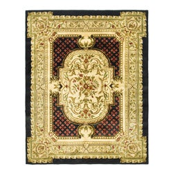 Safavieh Handmade Classic Black/ Beige Wool Rug (8'3 x 11')