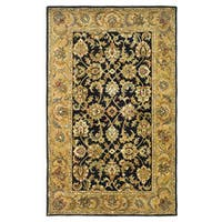 Safavieh Handmade Classic Black/ Gold Wool Rug - 5' x 8'