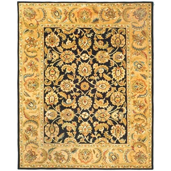"Safavieh Handmade Classic Black/ Gold Wool Rug - 7'6"" x 9'6"""