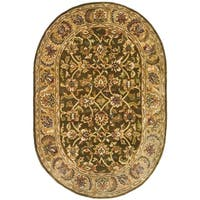 "Safavieh Handmade Classic Olive/ Beige Wool Rug - 4'6"" x 6'6"" oval"