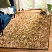 Safavieh Handmade Classic Olive/ Beige Wool Rug - 6' x 9'