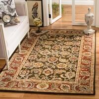 Safavieh Handmade Classic Dark Olive/ Red Wool Rug (5' x 8')