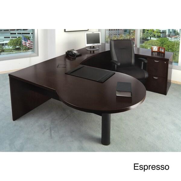 Mayline Mira Wood Veneer 4-piece LH P-top U Workstation Suite #22