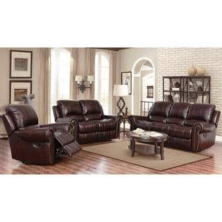 Abbyson Broadway Top Grain Leather Reclining 3 Piece Living Room Set