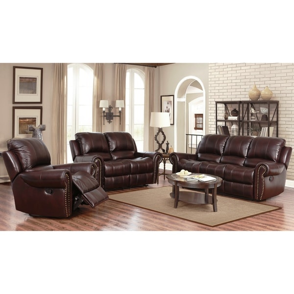 Abbyson Broadway Top Grain Leather Reclining 3 Piece Living Room Set. Abbyson Broadway Top Grain Leather Reclining 3 Piece Living Room