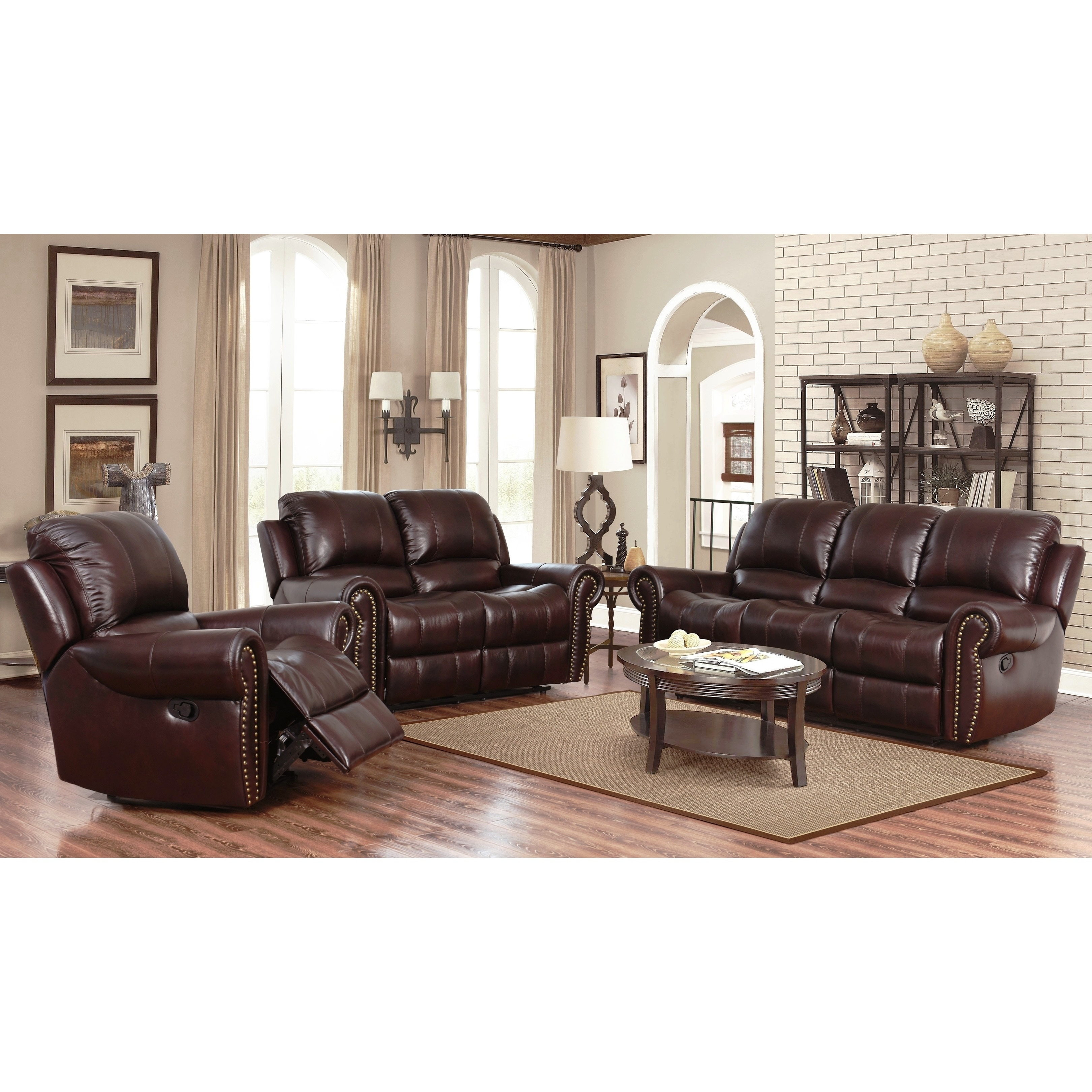 Exceptionnel Abbyson Broadway Top Grain Leather Reclining 3 Piece Living Room Set