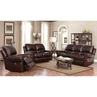 Abbyson Broadway Top Grain Leather Reclining 3 Piece Living Room Set