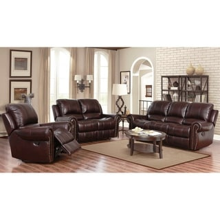 Abbyson Broadway Top Grain Leather Reclining 3 Piece Living Room Set|//  sc 1 st  Overstock.com & Recliners Sofas Couches u0026 Loveseats - Shop The Best Deals for Nov ... islam-shia.org