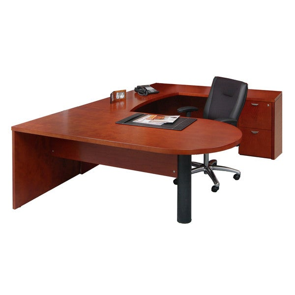 Mayline Mira Wood Veneer 4-piece Peninsula U-workstation Suite #13