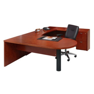 Mayline Mira Wood Veneer 4-piece Peninsula U-Workstation Desk Suite #13