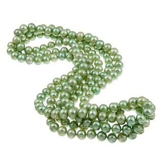 DaVonna 8-9mm Green Freshwater Pearl Endless Necklace, 64-inch