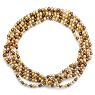DaVonna Champange FW Pearl 64-inch Endless Necklace (8-9 mm)