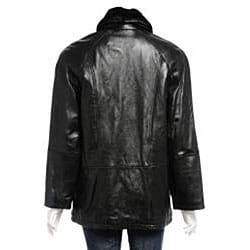 Nuage Women's Faux Fur Collar Leather Jacket