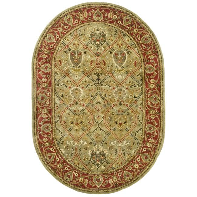 Safavieh Handmade Mahal Green/ Rust New Zealand Wool Rug (4'6 x 6'6 Oval)