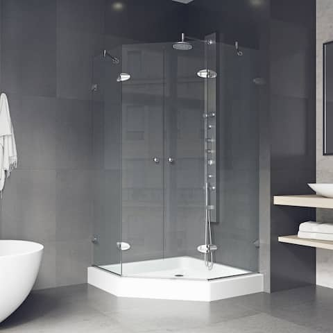 VIGO Gemini Clear Frameless Neo-angle Shower Enclosure with Base