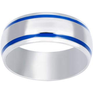 Stainless Steel Men's Blue Enamel Groove Domed Ring