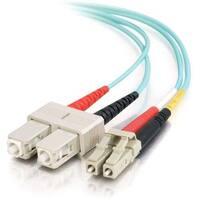 C2G 1m LC-SC 10Gb 50/125 Duplex Multimode OM3 Fiber Cable - Aqua - 3f