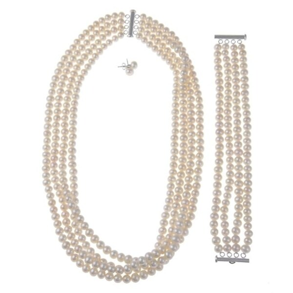 Davonna Silver 6 7 Mm White 4 Row Freshwater Pearl Necklace Bracelet And Earring