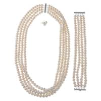 DaVonna Silver White FW Pearl 4-row Necklace Bracelet and Earring Set (6-7 mm)