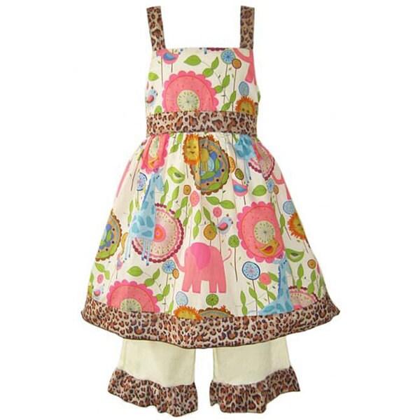 Ann Loren Girl's Jammin' Jungle Dress and Capri Set