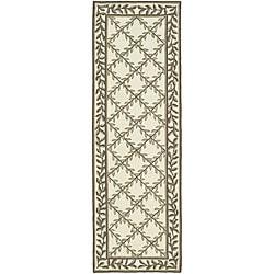 Safavieh Hand-hooked Easy Care Trellis Ivory/ Olive Runner (2'6 x 10')