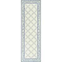 """Safavieh Hand-hooked Easy Care Trellis Ivory/ Blue Runner (2'6 x 10') - 2'6"""" x 10'"""