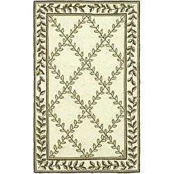 Safavieh Hand-hooked Trellis Ivory/ Olive Polypropylene Rug (2' x 3')