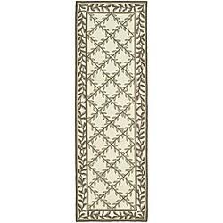 Safavieh Hand-hooked Easy Care Trellis Ivory/ Olive Runner (2'6 x 8')