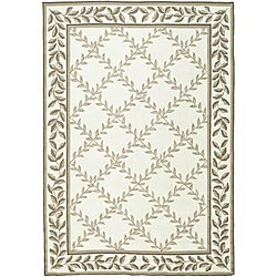 Safavieh Hand-hooked Easy Care Trellis Ivory/ Olive Rug (6' x 9')