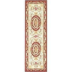 Safavieh Hand-hooked Easy Care Aubusson Ivory/ Burgundy Runner (2'6 x 10')