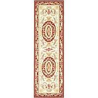 Safavieh Hand-hooked Easy Care Aubusson Ivory/ Burgundy Runner Rug - 2'6 x 10'
