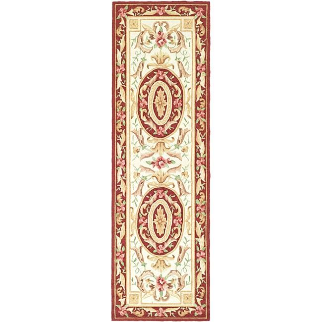 Safavieh Hand-hooked Easy Care Aubusson Ivory/ Burgundy Runner Rug - 2'6 x 8'