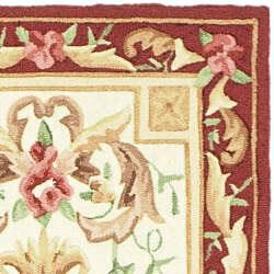 Safavieh Hand-hooked Easy Care Aubusson Ivory/ Burgundy Runner (2'6 x 8') - Thumbnail 1