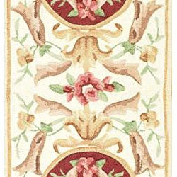 Safavieh Hand-hooked Easy Care Aubusson Ivory/ Burgundy Runner (2'6 x 8') - Thumbnail 2