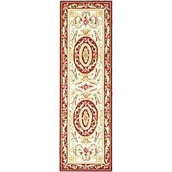 Safavieh Hand-hooked Easy Care Aubusson Ivory/ Burgundy Runner Rug - 2'6 x 8' - Thumbnail 0