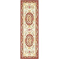 Safavieh Hand-hooked Easy Care Aubusson Ivory/ Burgundy Runner (2'6 x 8')