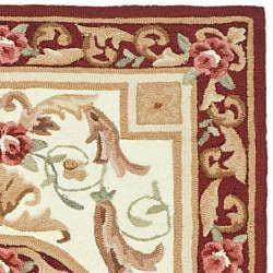 Safavieh Hand-hooked Easy Care Aubusson Ivory/ Burgundy Rug (2' x 3')