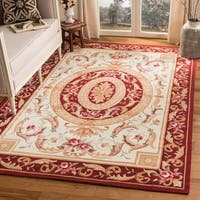 Safavieh Hand-hooked Easy Care Aubusson Ivory/ Burgundy Rug - 3' x 5'