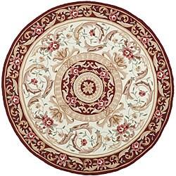 Safavieh Hand-hooked Aubusson Ivory/ Burgundy Polypropylene Rug (6' Round)