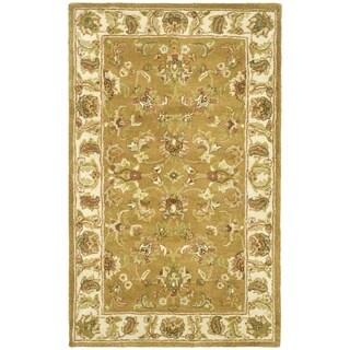 Safavieh Handmade Heritage Traditional Tabriz Mocha/ Ivory Wool Rug (2' x 3')